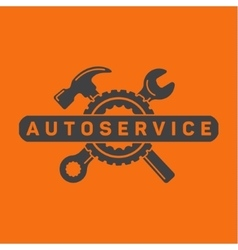 Service auto repair wrench hammer wheel logo vector image