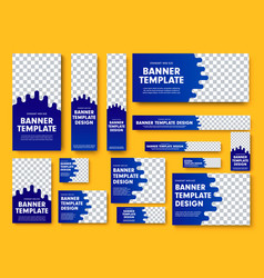 set blue web banners with place for photo vector image