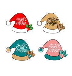 set christmas hats with lettering different vector image