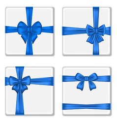 Set gift boxes with blue bows vector