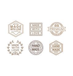 set linear labels for handmade crafts vector image