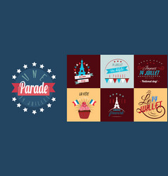 Set of happy bastille day greetings card design vector