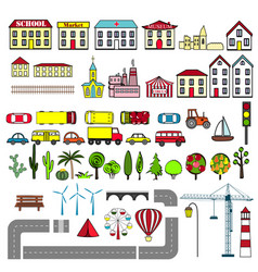 Set of kids city map elements vector