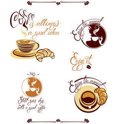 set of signs with cups croissant girl fac vector image