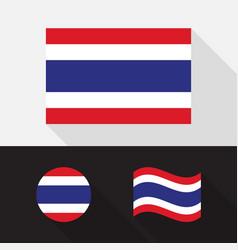 set thailand flag flat design vector image
