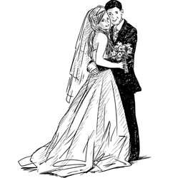 sketch happy newlyweds vector image