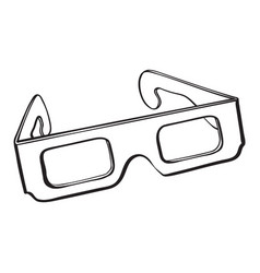 Stereoscopic 3d glasses in black plastic frame vector