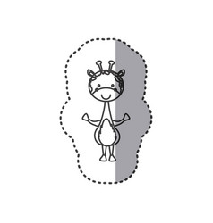 Sticker of grayscale contour of giraffe vector