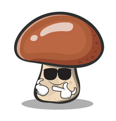 Super cool mushroom character cartoon vector
