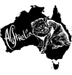 Tasmanian devil on map of Australia vector