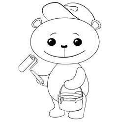 teddy bear house painter vector image