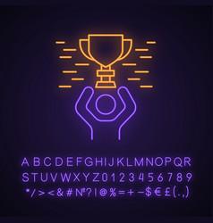 Tournament winning neon light icon vector
