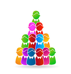 tree christmas people shape with star symbol vector image