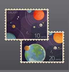 two vintage space postage vector image
