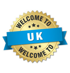 Uk 3d gold badge with blue ribbon vector