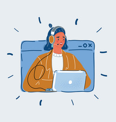 User support service woman vector