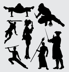 Using weapon people activity silhouette vector