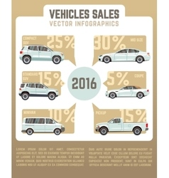Vehicles sales infographics in flat style vector image
