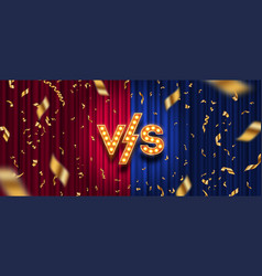 Versus logo and confetti on red and blue curtain vector