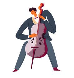 violoncello player classic music performer cello vector image