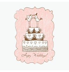 Wedding cake hand draw vector