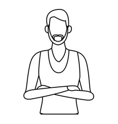 Young man cartoon black and white vector