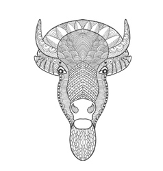 Zentangle stylized bull head vector
