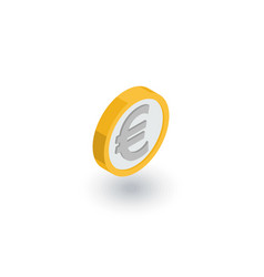 euro coin currency isometric flat icon 3d vector image