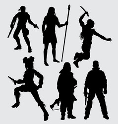 hero people with weapon vector image