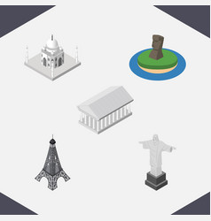 isometric travel set of athens india mosque rio vector image