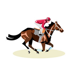 jockey on horse horse racing horse riding vector image
