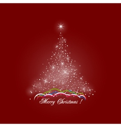 Christmas Tree of Lights on Red Background vector image vector image
