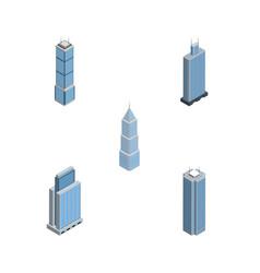 Isometric skyscraper set of exterior skyscraper vector