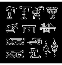 Set line icons of crane lifts winches vector image vector image