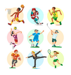 sport people sportsmen woman and man flat fitness vector image