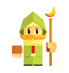 Cartoon dwarf in a green cape with staff in his vector