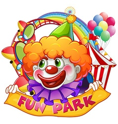 Jester with fun park sign vector image vector image