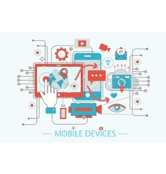 Modern Flat thin Line design technology mobile vector image vector image