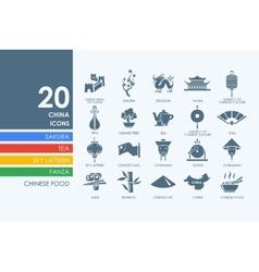 Set of China icons vector image vector image