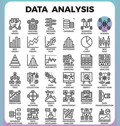 data analysis concept detailed line icons vector image vector image