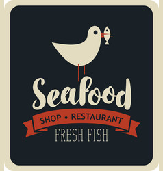 emblem seafood with seagull with fish in its beak vector image vector image