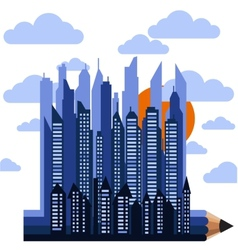 Futuristic city on pencil in clouds with sun vector image