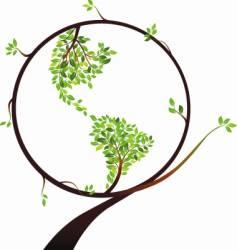 globe tree vector image vector image