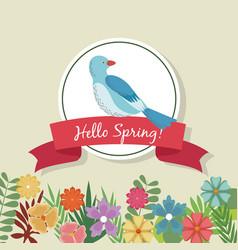 Hello spring greeting card blue bird flowers vector