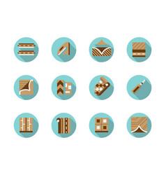 linoleum store round flat color icons set vector image vector image