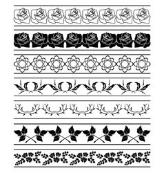 set of floral elements of borders vector image vector image