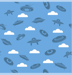 space ship silhouettes seamless pattern vector image vector image