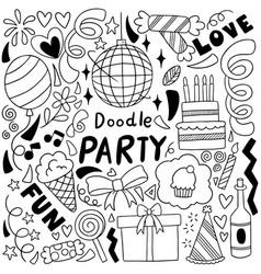 0018 hand drawn party doodle happy birthday vector
