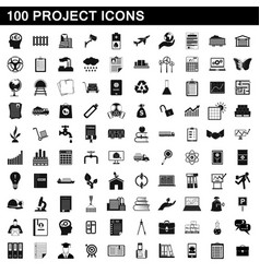 100 project icons set simple style vector