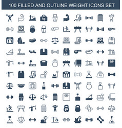 100 weight icons vector